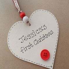 Baby's First Christmas   Wooden Heart Tree Decoration   Handmade & Personalised   1st Xmas Tree Decoration £5.50
