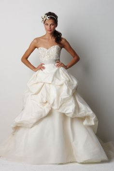Ball gown floor-length taffeta bridal gown with appliques embellishment