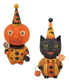Halloween Party Love these chubby little fellas with moon and bat hats they like lollipops. Greet your trick or treaters at the door with this fun Halloween decor. A lollipop cat and pumpkin kid duo w