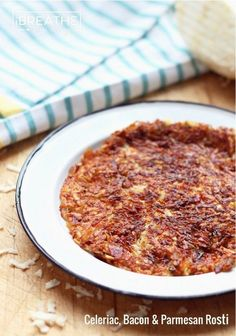 Low Carb Celeriac, Bacon, and Parmesan Rosti - a delicious low carb, gluten free, egg free, keto, lchf, and Atkins side dish.
