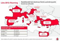 Z nedávného průzkumu Vodafone Zoom vyplynulo, že přes 90 % Čechů nosí na dovolené svůj mobilní telefon stále při sobě. Devět z deseti z nich navíc přijme na dovolené hovor od šéfa nebo mu odpoví do druhého dne. V nejkratší době reagují na hovor od šéfa Pražané a nejdéle to trvá obyvatelům Plzeňského kraje. V infografice jsme znázornili, kolik hovorů a SMSek průměrně Češi učiní z nejoblíbenějších letních destinací. Infographics, Chart, Map, Italy, Infographic, Location Map, Maps, Info Graphics, Visual Schedules