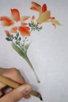 Flower Art Drawing, Flower Drawing Tutorials, Lily Painting, Art Painting Gallery, Chinese Painting Flowers, Japanese Painting, Watercolor Paintings For Beginners, Art Watercolor, Papier Paint