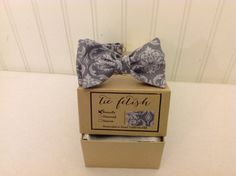 Boys grey damask bow tie by TieFetish on Etsy,