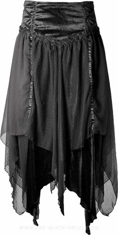 Long gothic skirt by Sinister, black velvet with several layers of flowing fabric.