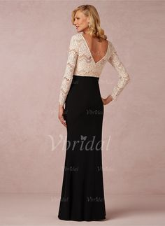 Trumpet/Mermaid Scoop Neck Floor-Length Chiffon Lace Zipper Up Sleeves Long Sleeves No 2015 Black Champagne Spring Fall Winter General Mother of the Bride Dress
