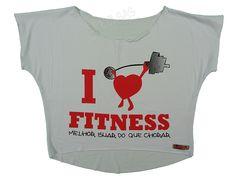 Blusas Femininas   Blusa Cropped I Love Fitness Melhor Suar Que Chorar Branca  Acesse: http://www.spbolsas.com.br/atacado/ #Regatas #Femininas #Atacado