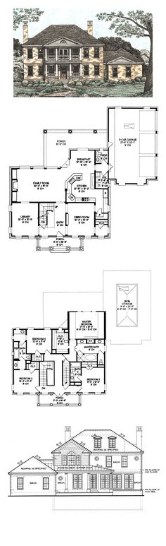Colonial Style COOL House Plan ID: chp-21970 | Total Living Area: 2975 sq. ft., 4 bedrooms 3.5 bathrooms. #houseplan #colonialstyle