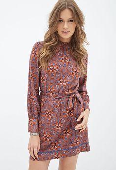FOREVER 21 Mosaic Print Woven Dress