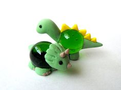 Adorable Polymer Clay Glass Figure Dinosaurs by JujubisWorkshop