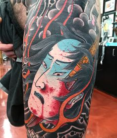 Head Tattoos, Sleeve Tattoos, Tatoos, Hanya Mask Tattoo, Traditional Style Tattoo, Japanese Tattoo Designs, Asian Tattoos, Japan Tattoo, Samurai Tattoo