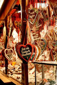 Gingerbread hearts at the Frankfurt German Christmas market.   See others here: http://www.lonelyplanet.com/germany/things-to-do/germany-s-best-christmas-markets