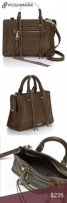 REGAN MICRO SATCHEL No work here—this micro is all play. The shrunken Regan Satchel is the perfect size when you're on-the-go and its slim profile lays nicely when worn crossbody. Brand color is olive. Rebecca Minkoff Bags Satchels