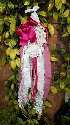 Large Pink Satin Bow And Floral Ribbon Handmade Crochet Doily Dreamcatcher Satin Bows, Pink Satin, Lace Dream Catchers, Floral Ribbon, Purple Fabric, Dreamcatchers, Crochet Doilies, 4th Of July Wreath, White Lace