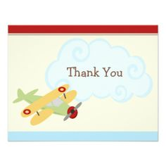 Airplane Birthday Party Invitation Thank You Cards