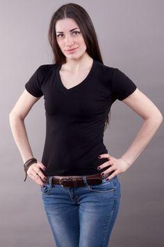 Футболка обычная черная мод.10061302 Размеры: 44-58 Цена: 160 руб.  http://optom24.ru/futbolka-obychnaya-chernaya-mod10061302/  #одежда #женщинам #футболки #оптом24