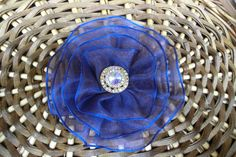 Blue and Gold Shimmer together in this unique kippah from Vintage Blooms By Ellen. Available on Etsy for only $30.