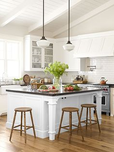 May have already pinned? Love this white + wood kitchen