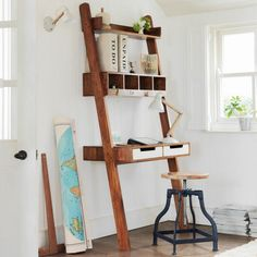 Ladder Desk with shelves + industrial tool
