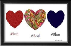 "Red Real And Blue - All American Hearts 11""x17"" Unframed Poster Print - Office Cubicle Study Library Dorm Room Home Gallery Wall Decor Decorations Valentine's Day Birthday Gift - Frame Not Included. ""Red Real & Blue"" A artsy version of all American Red-White-And-Blue theme.Artwork titled ""Red Real & Blue"" featuring creatively inspired heart-works. Original was created utilizing digital graphics with a creatively assembled collage of scraps from my hand-drawn doodles. Hope you like it."