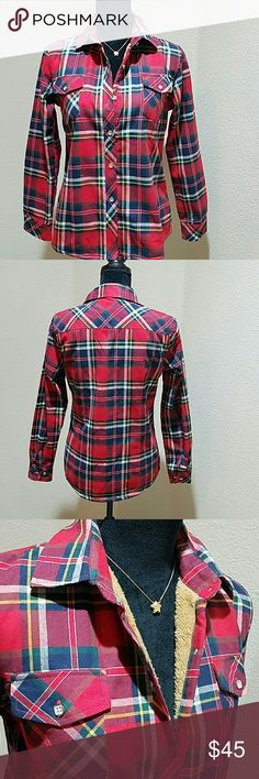 "Warm Plaid faux fur lined shirt Warm and cozy red, blue, white and yellow plaid faux fur lined shirt. Two pockets on front and six buttons down the front. Length 25"", sleeve length 23"", bust flat 19"". Made in China. Fits more like a LARGE. Please check your measurement before purchasing. Tops Button Down Shirts"