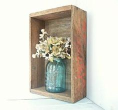old wooden crate as a shelf