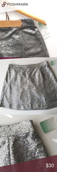 "Silver Sequin Skater Skirt NWT S,M Fully lined silver sequined skater skirt by Decree. Fully lined. S- 13"" waist; 15.5"" length. M - 14"" waist; 16"" length. XL 17.5"" waist; 16"" length. NWT Decree Skirts Mini"