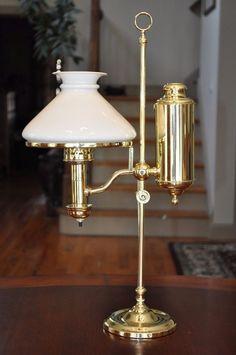 Victorian Brass C.A. Kleemann Student Lamp with White Bristol Shade Electrified #CAKleemann
