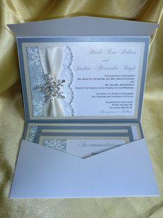 Lapis Blue Silver White Snowflake Winter Wedding Invitation and ...