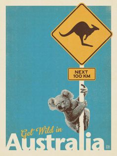 Anderson Design Group Premium Thick-Wrap Canvas Wall Art Print entitled Kangaroo X-ing Koala Illustration, Travel Illustration, Art Deco Posters, Cool Posters, Australia Pictures, Travel Collage, Groups Poster, Australian Vintage, Wall Art Prints