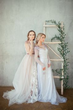 Tanny / Grey lace wedding dress / Embroidered by Alexveilbridal