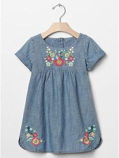 1969 embroidered chambray denim dress   Gap