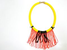 Yellow cord necklace with orange fringe by on Etsy Orange, Yellow, Tassel Necklace, Cord, Greek, Neon, Artists, Trends