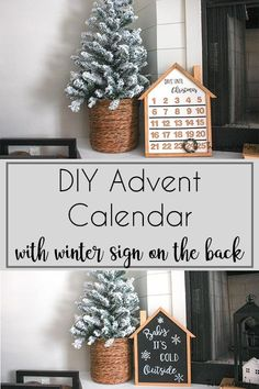 DIY Advent Calendar -This adorable advent calendar is perfect for hanging on the wall, or sitting on a shelf, fireplace mantel, or hearth! Its simple construction can be made in a few hours and used all season long when you flip it over to use the winter artwork on the back once you have made it to Christmas using the countdown on the front! Make a DIY advent calendar for your family with the plans!