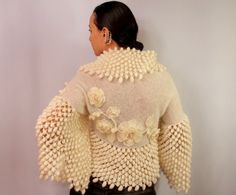 Blossom Fairy / Ivory Crochet Shrug Knit Bolero by lilithist
