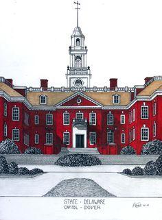 Delaware State Capitol building in Dover.  More info at http://frederic-kohli.artistwebsites.com.