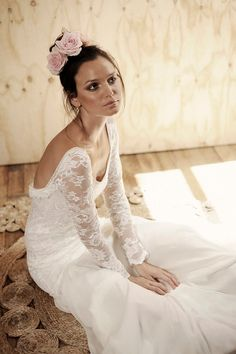 Long lace sleeve wedding dress with stunning low by Graceloveslace above view
