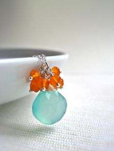 Aqua Chalcedony and Carnelian Cluster Necklace, Handmade Gemstone Sterling Silver Necklace