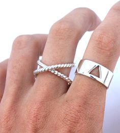Crossroad Ropes Sterling Silver Ring | Criss-crossing bands of twisted sterling silver give this eleg... | Rings