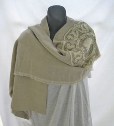 Huge beige linen scarf, vintage Battenburg lace embellished shawl, extra large boho retro textured woven wrap, romantic bridal wedding shawl by thelavenderpear on Etsy