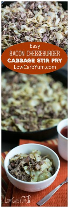 Short on time? It only takes about 20 minutes to whip up a delicious low carb bacon burger cabbage stir fry skillet dish that the whole family will love. | LowCarbYum.com: