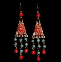 1920's Art Deco Egyptian Revival Earrings