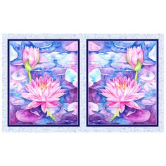"""P&B Textiles Water Lilies Water Lilies 21"""" Panel Blue Violet - Fabric.com Water Lilies, Fabric Panels, Textile Design, Accent Decor, Printing On Fabric, Lily, Textiles, Purple, Blue"""