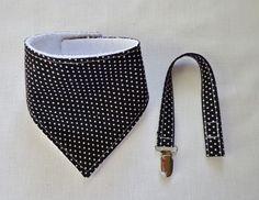 $8.00 Baby Toddler Bandana Dribble Bib & Pacifier Clip Set Polka Dots Handmade
