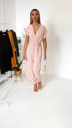 Lala Wide Leg Jumpsuit at ikrush Casual Fall Outfits, Classy Outfits, Chic Outfits, Dress Outfits, Fashion Dresses, Simple Dresses, Casual Dresses, Short Dresses, Summer Dresses