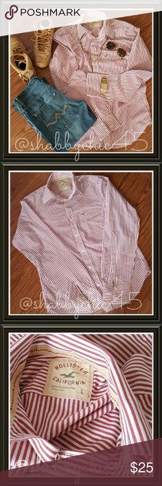 HP NWOT Hollister Men's Button Down Striped Shirt NWOT Hollister button down shirt in a very trendy dark red and white stripe. Slip on a pair of slacks or chinos for the office,  then make a quick change into jeans or khaki shorts for happy hour or date night.  Very versatile.  100% Cotton!    💘Smoke free home. No trades. Open to reasonable offers unless marked as firm.? Happy Poshing!! 💘 Hollister Shirts Casual Button Down Shirts