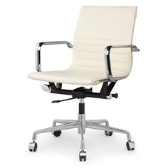 M348 Office Chair in Cream Vegan Leather