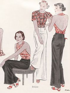 Casual slacks and halters, from McCall's, April 1934