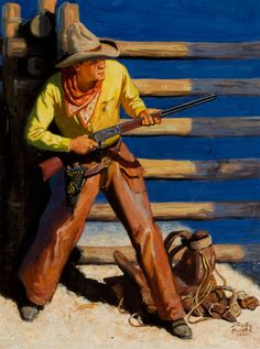 """STOCKTON MULFORD (American, 1886-1960), """"On the Defense."""" Cover of Street & Smith's Western Stories, Aug. 1931."""