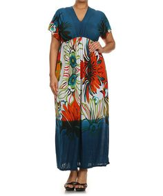 Loving this Teal & Red Tribal Floral Silk-Blend Maxi Dress - Plus on #zulily! #zulilyfinds