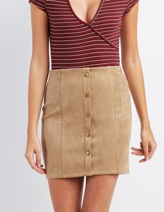 449124639 #CRItsOn Skirt Leggings, Shirt Skirt, Button Up Skirts, Suede Mini Skirt,. Charlotte  Russe
